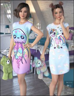 Kawaii Textures for dForce Snuggle Up PJs and Accessories