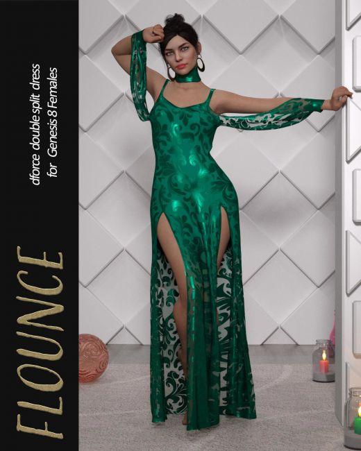Flounce dForce dress for Genesis 8 Females