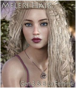Meleri Hair for Genesis 3, Genesis 8 and La Femme