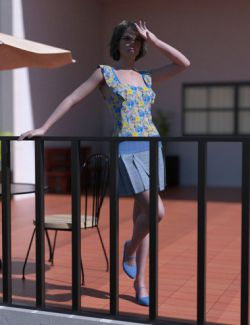 dForce Floral Pleated Skirt Outfit for Genesis 8 Female(s)