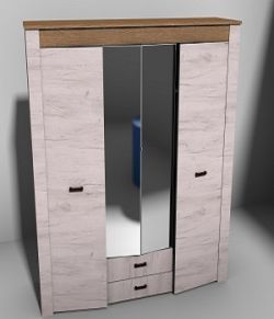 Modern wardrobe real world scale- Extended License