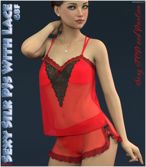 dForce Sexy Silk PJs With Lace for Genesis 8 Female