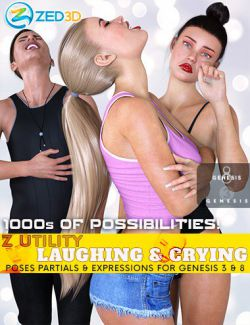 Z Utility Laughing and Crying Poses and Expressions for Genesis 3 and 8