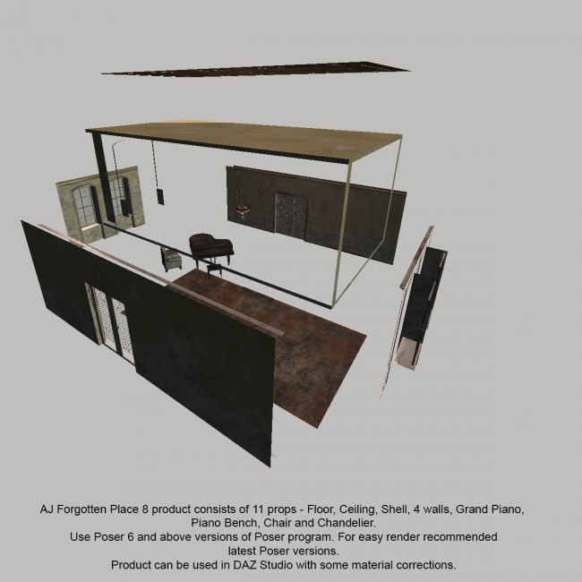 AJ Forgotten Place 8 | Props for Poser and Daz Studio