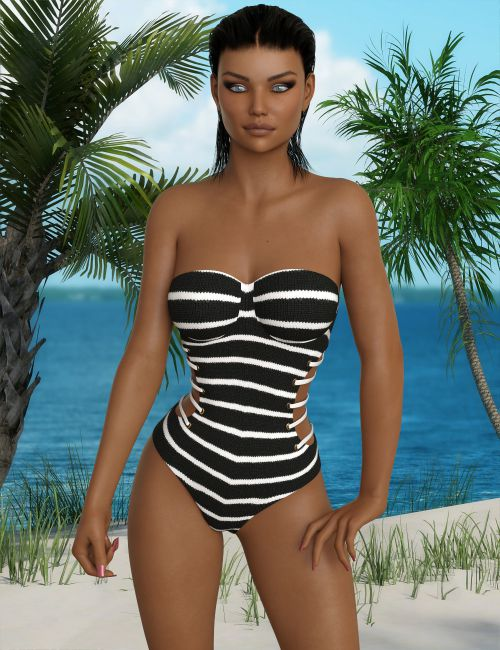 InStyle - X-Fashion Ribbed Swimsuit for Genesis 8 Females