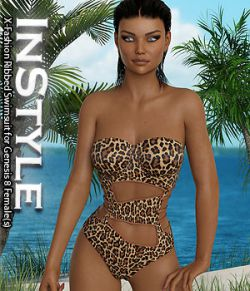 InStyle- X-Fashion Ribbed Swimsuit for Genesis 8 Females