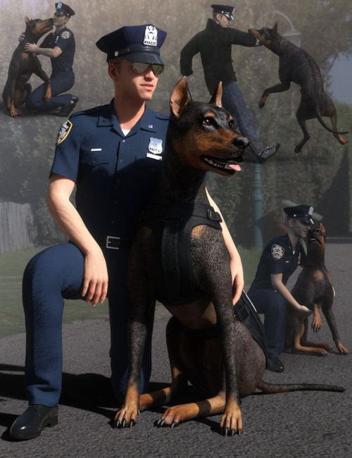 K-9 Unit Poses for Genesis 8 and Daz Dog 8