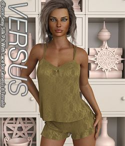 VERSUS- dForce Sexy Silk PJs With Lace for Genesis 8 Female