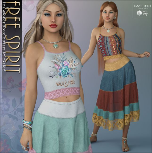 Free Spirit for dForce Boho Outfit | Clothing for Poser and