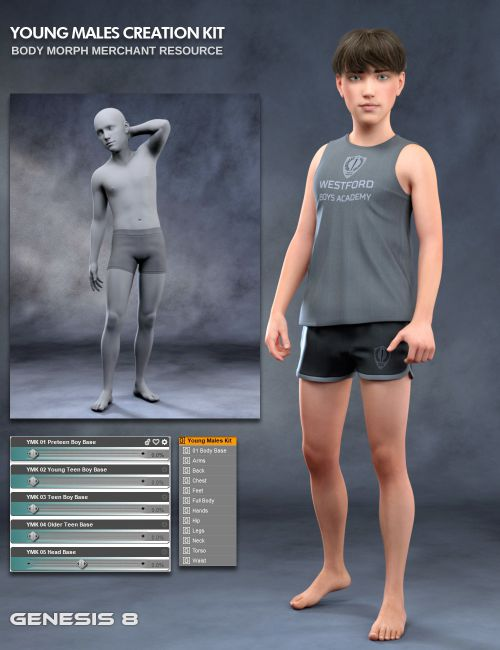 Young Males Creation Kit - Body Morphs Merchant Resource