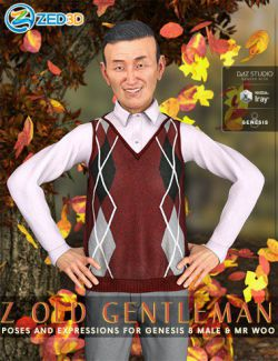 Z Old Gentleman- Poses and Expressions for Mr Woo 8 and Genesis 8 Male