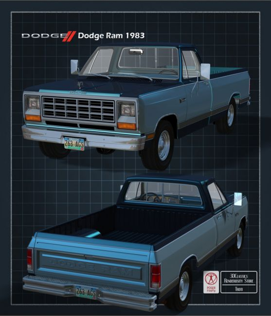 DODGE RAM 1983 EXTENDED LICENSE OBJ and FBX