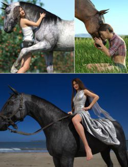 Horse and Rider Poses and Dress for Genesis 8
