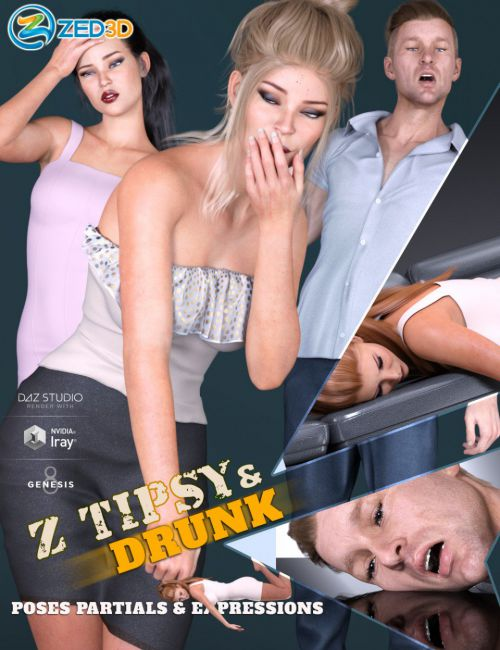 Z Tipsy and Drunk Poses and Expressions for Genesis 3 and 8