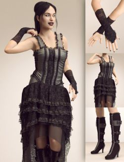 dForce Victorian Goth Outfit for Genesis 8 Female(s)