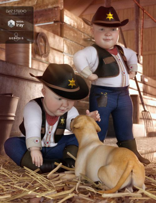 dForce Cowboy Costume for Genesis 8 Male(s)