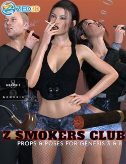 Z Smokers' Club Props Poses and Expressions for Genesis 3 and 8