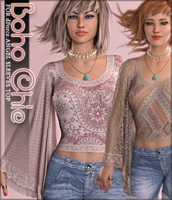 Boho Chic for dForce Angel Sleeves Top G8F