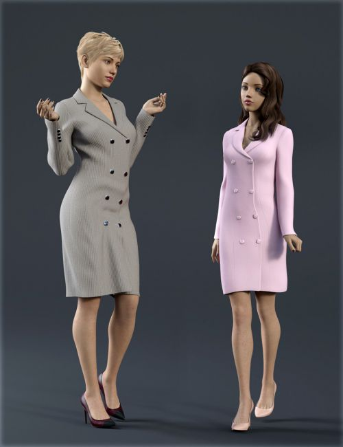dForce H&C Double Button Dress for Genesis 8 Female(s)