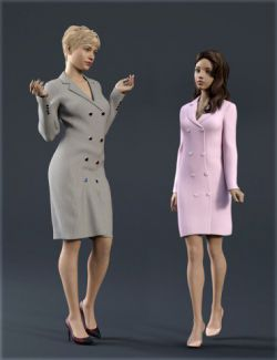 dForce H&C Double Button Dress for Genesis 8 Female(s)