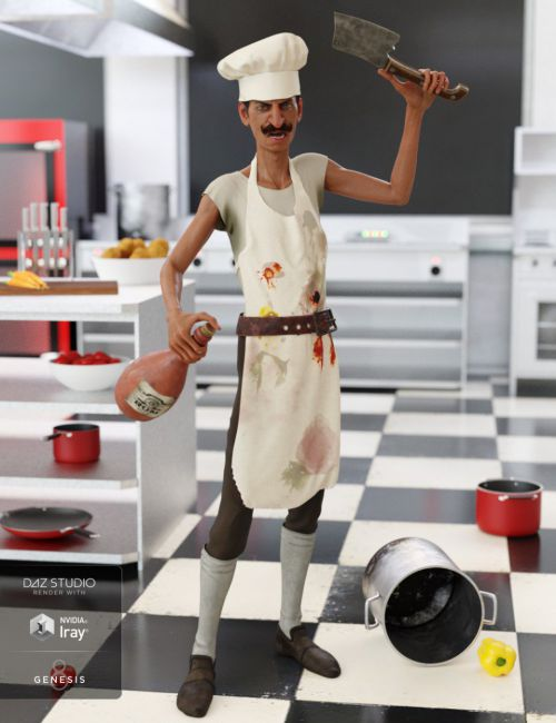 dForce Crazy Chef Outfit for Genesis 8 Male(s)