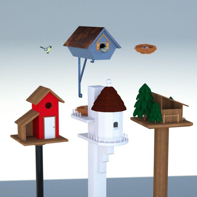 Four Birdhouses - OBJ