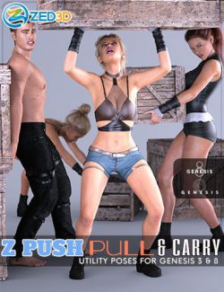 Z Push Pull and Carry Utility Poses for Genesis 3 and 8