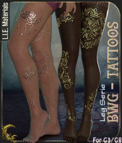 BWG- Tattoos, Leg Serie for G3-G8- DAZ Studio