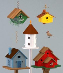 Five Birdhouses- OBJ