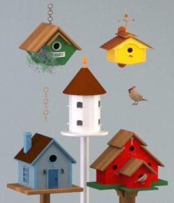 Five Birdhouses- OBJ