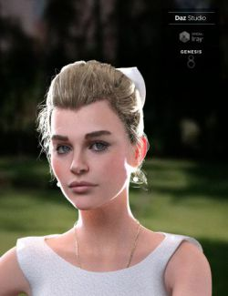 Sylvia Tied Bun Hair for Genesis 8 Female(s)