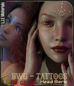 BWG - Tattoos, Head Serie for G3-G8 - DAZ Studio