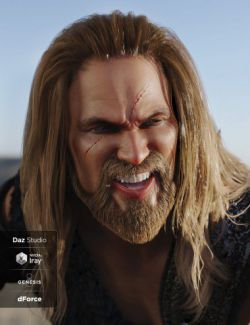 Drago Hair and Beard with dForce for Genesis 3 and Genesis 8 Male(s)