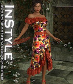 InStyle- dForce Flirty Flamenco Suit for Genesis 8 and Genesis 3 Female