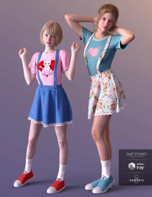 dForce Kawaii Overalls for Genesis 8 Female(s)