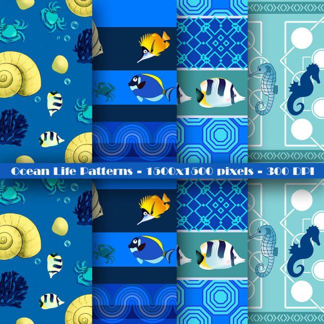 Seamless Ocean Life Patterns