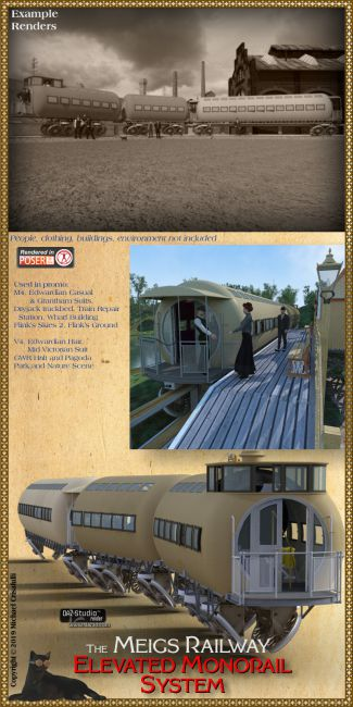 Meigs Steam Monorail | Props for Poser and Daz Studio
