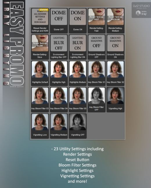 SVs Easy Promo Iray Lighting | 3D Models for Poser and Daz