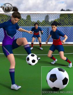 Playing Soccer Poses and Prop for Genesis 3 and 8