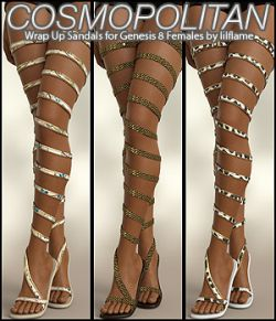 COSMOPOLITAN - Wrap Up Sandals for Genesis 8 Females