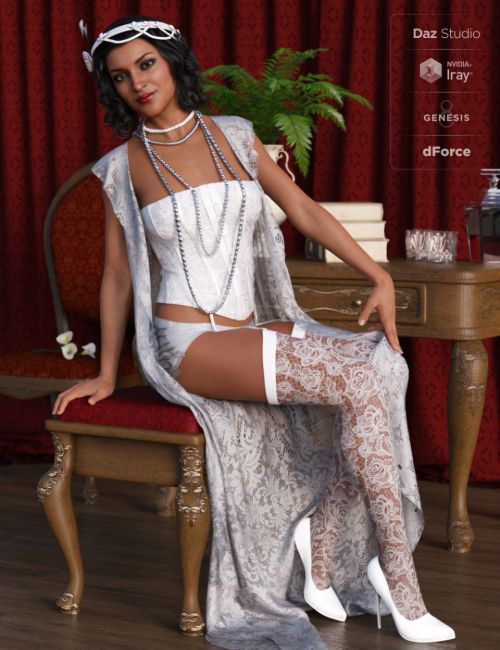 dForce 1920s Boudoir Outfit for Genesis 8 Female(s)