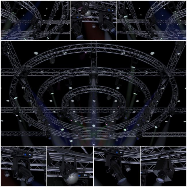 TV Studio Stage Truss and Lights - Extended License