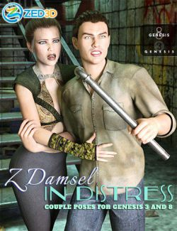 Z Damsel in Distress Couple Poses for Genesis 3 and 8
