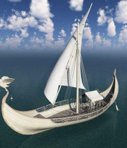 Elven Small Sail Boat for Blender