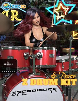 Z Drum Kit and Poses for Genesis 3 and 8