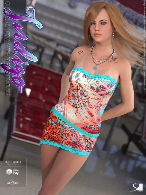 Indigo for dForce Mini Beach Dress for Genesis 8 Females