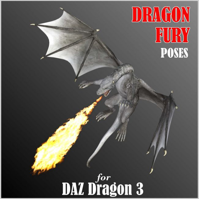 DRAGON FURY Aerial and Ground Combat Poses for Daz Dragon 3 in DS4