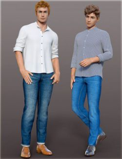 dForce H&C Mandarin Collar Shirt Outfit for Genesis 8 Male(s)