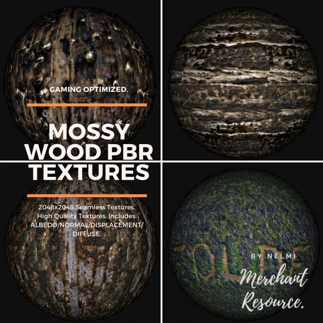 Mossy Wood PBR Textures - Merchant Resource