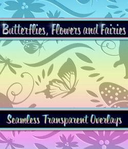 Butterflies, Flowers and Fairies Seamless Overlays